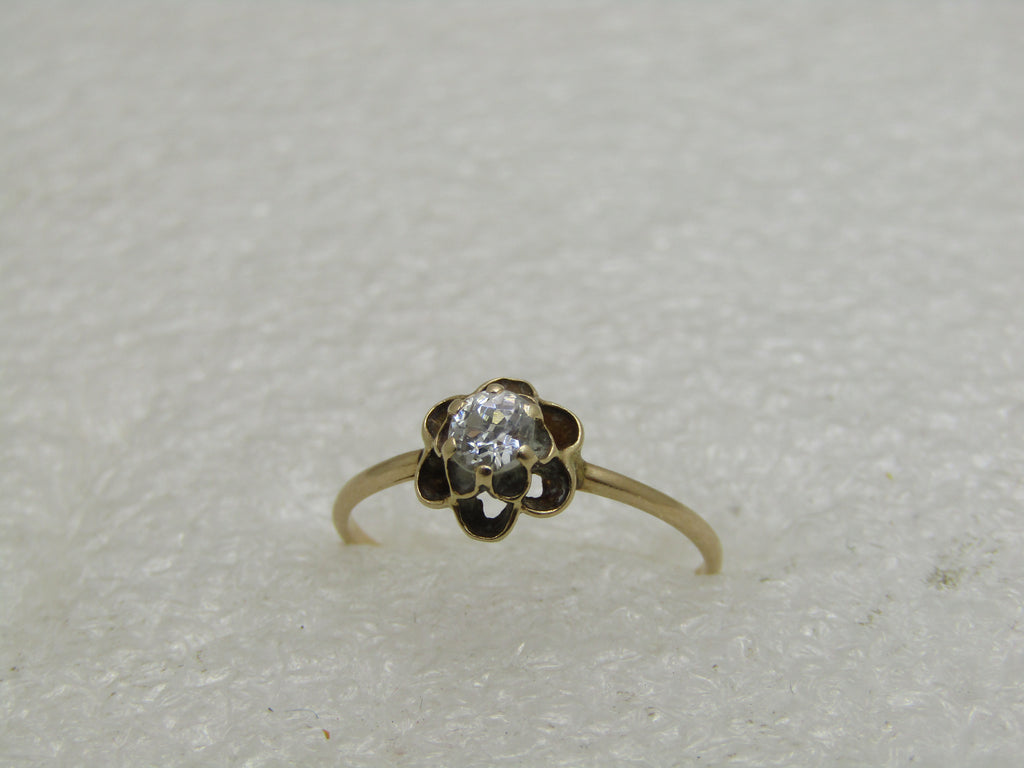 Victorian 14kt Buttercup Diamond Engagement Ring, Sz. 7.25, .33 ctw, 1800's