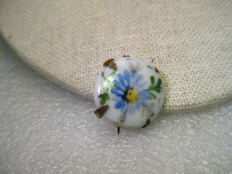 True Victorian Hand Painted Porcelain Round Brooch, Cornflower, 3/4""