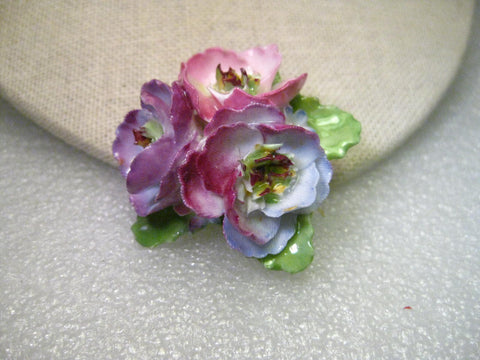 Vintage Porcelain Triple Rose Brooch, Crown China Crafts, England, Mill St. Stroke signed.