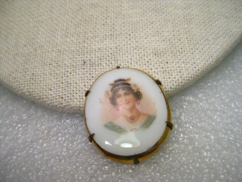 True Victorian Hand Painted Porcelain Brooch, Oval, Victorian Woman, missing pin