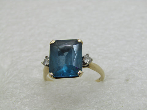 Vintage 14kt Aquamarine & Diamond Ring, Sz. 9, 4 CTW, Signed RFF
