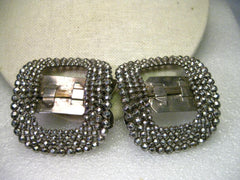 "Vintage Marcasite French Shoe Clips or Buckles, Art Deco,  2.25"" x 2"", Silver Tone"