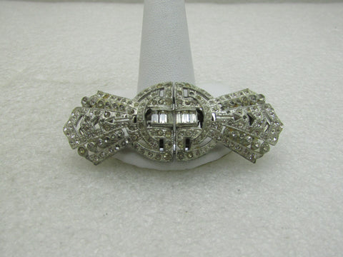 Vintage Coro Rhinestone Duette Brooch/Dress Clips, Art Deco 2.74""