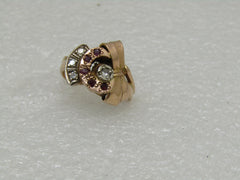 Art Nouveau 14kt  Diamond Ruby Bow Ring, Size 5.75, 5.88 gr, Early 1900's