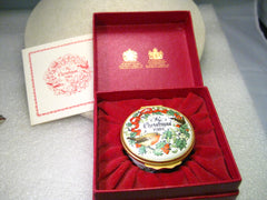 1981 Christmas Halcyon Days Enamels Trinket Box, In Box, England