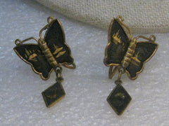 Vintage Butterfly Damascene Screw Back Earrings, Dangle, 1960's, Asian Themed
