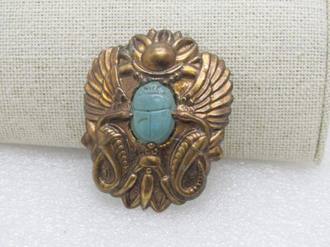 Vintage 1930's Egyptian Revival Scarab Brooch, Coppery  Brass, 2""