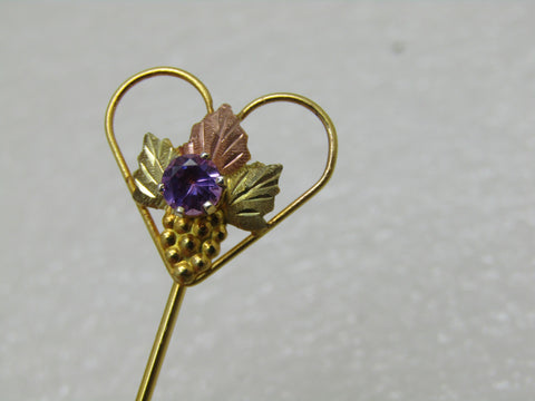 "Vintage Sterling 10kt  Black Hills Gold Stick Pin, Purple Sapphire, 2"", Landstrom's In Box"