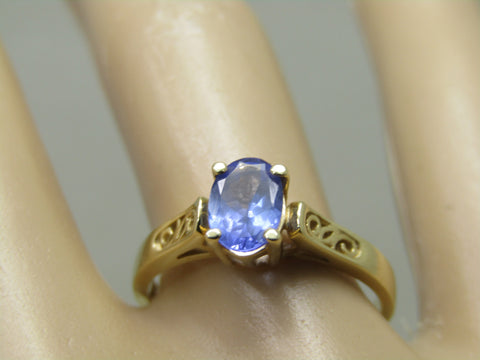 Vintage 14kt Tanzanite Ring, .53 ctw, Size 7.5, 2.49 gr. Scrolled Accents