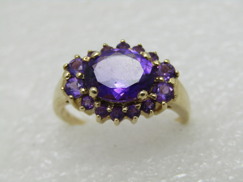 Vintage 10kt Amethyst Halo Ring, Multi-Stone, Appx.  2.5 TCW,  Size 9, 3.85gr.