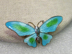 "Vintage Guilloche Blue & Green Butterfly Brooch, 1.75"" wide"