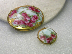 "True Victorian Pair of Hand Painted  Gold Trimmed Rose Porcelain Floral Brooch, 2"" and 1"""