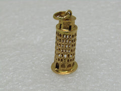 "Vintage 18kt Leaning Tower of Pisa Charm, 1-1/8"", 3.46 Gr. 1960's, Signed"