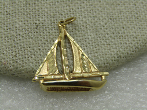 "Vintage 14kt Sailboat Pendant or Charm, 1"", 2.65 Gr. 1960's, Signed"