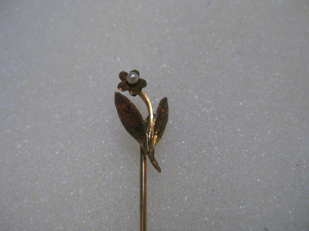 "Estate 10kt FLower Stick Pin,  Rose Gold, Seed Pearl, 2"", .79 grams"