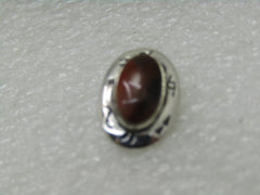 "Vintage Southwestern Sterling Petrified Wood Tie Tack with Chain/Bar, 2.30gr. NIB, 5/8"" Bell Trading"