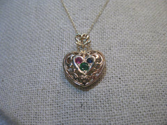 "14kt Solid Gold Scrolled Heart Necklace with Gemstones, 18"", Ruby, Emerald, Sapphire, signed XL and UP"