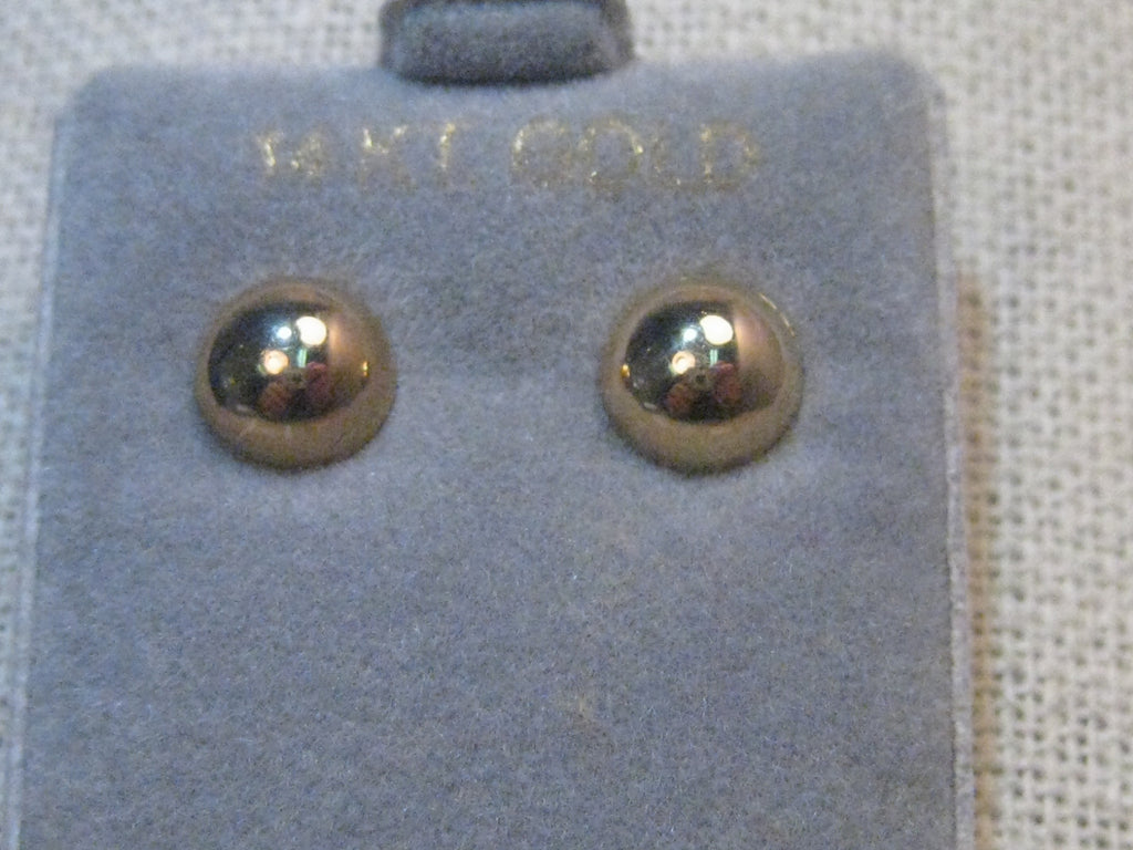 14kt Solid Gold 8mm Gold Stud Earrings, .58 Grams, New-in-Box, 1980's