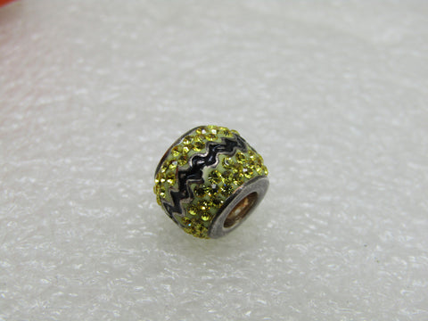 Sterling Silver Persona Charlie Brown Bead, Slide, Yellow Black Rhinestones, NIB, 3.40gr.