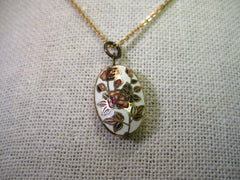 "Vintage Gold Tone Oval Cloisonne Rose Pendant with 18"" chain, 1970-1980's"
