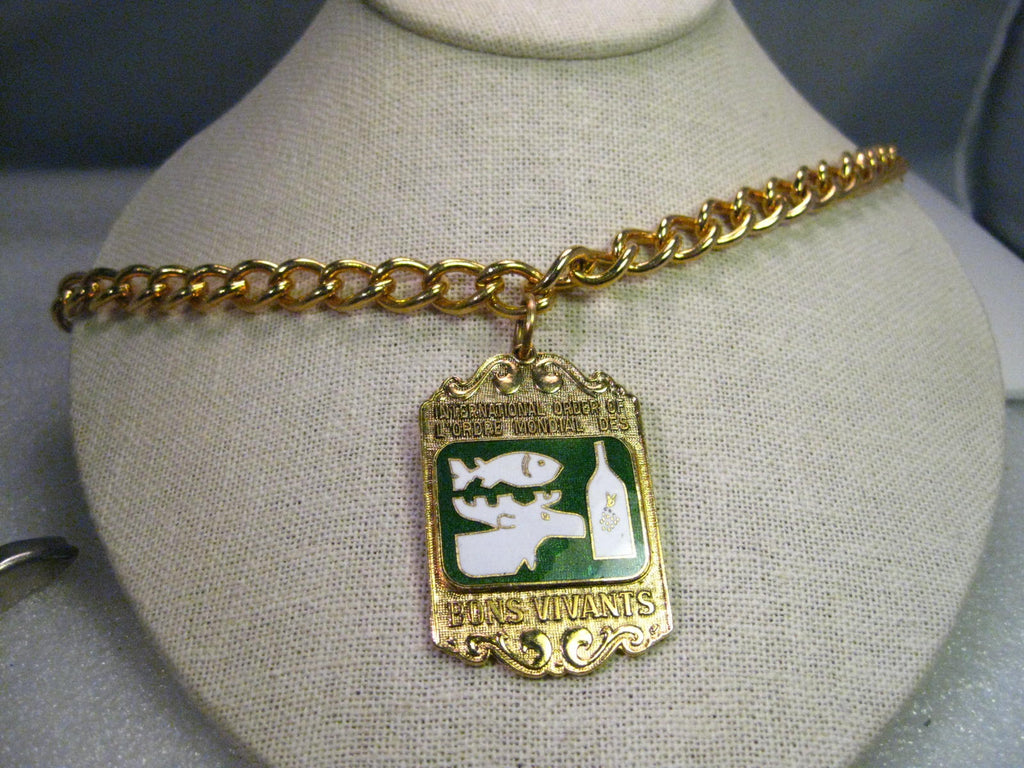 Vintage International Order of L'Ordre Mondial Des Bons Vivants Heavy Curb Linked Necklace with Enameled Pendant