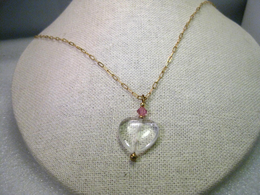 "Gold Tone Glass Heart Pendant on 26"" Oval Link Chain, Pink Bead Accent"