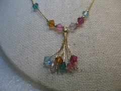 "14kt Solid Gold Tassel Necklace, 16"", signed F with Swarovski Crystals, 3.80 dwd"