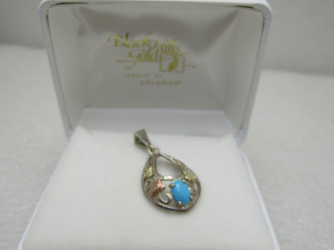 Vintage Sterling 12kt  Black Hills Gold Turquoise Pendant, Coleman in Box, 1.25""