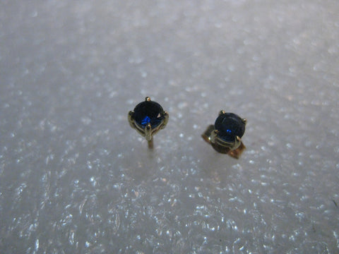10kt Deep Blue Topaz Stud Earrings, Pierced, Solid Yellow Gold, .35 grams, 1.5mm stones