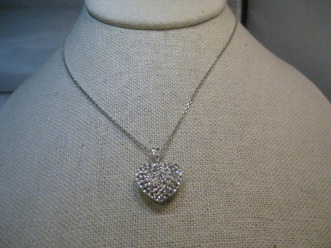 "Sterling Silver Rhinestone Heart Necklace, Puffy, Swing Bale, 18"", Wedding and Prom"