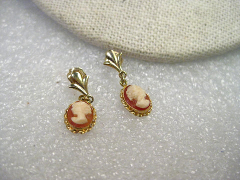 "Vintage Gold 14kt Gold Stud and Dangle Cameo Earrings, 1,19gr. 3/4"", signed 77"