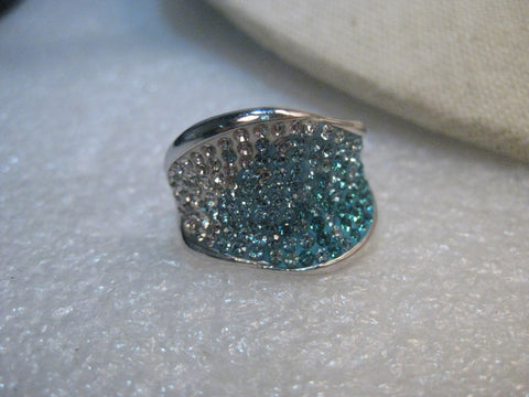 Sterling Silver Modern Teal/Clear Ring, Wavy, 17mm Wide, size 7.5 Signed AU .925, 9.35 gr.