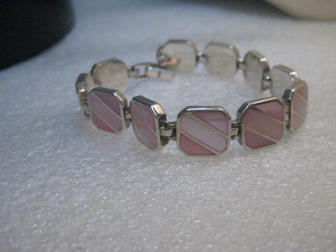 "Sterling Silver MOP Bracelet Pink Inlaid Tiles , 7"", 11.5mm wide, 25 grams"