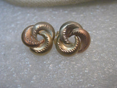 "14kt Yellow & Rose Gold Earrings, Studs, Curved, 2/3"", .73grams, signed JCM"