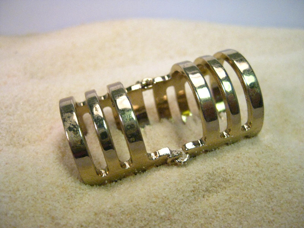 Vintage Gold Tone Hinged Full Finger Ring, Gold Bands With Open Spaces, Sz