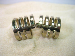 "Vintage Gold Tone Hinged Full Finger Ring, Gold Bands with Open Spaces, sz. 8-9, 1.75"" long"