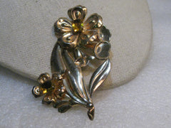 "Vintage 1940's Sterling Rhinestone Brooch, Yellow Stones, 3-3.8"" Tall, 18.95 gr."