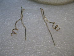 14kt Gold Spiral Thread Earrings, Corkscrew, Pierced, .69 grams, signed CU, 3.5""
