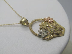 "Vintage 10kt Gold Basket Necklace, 18"", Signed D, 2.43 gr., Diamond Cut"