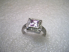 Silver Tone Lia Sophia Lavender CZ Halo Ring with Clear Pave Set Stones, Size 8.5
