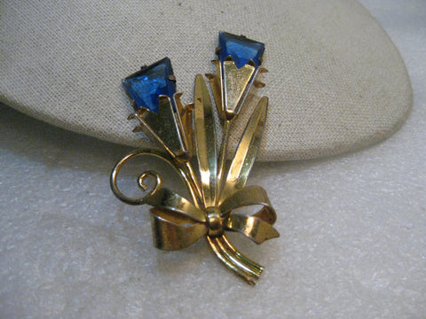 "Vintage 1940's Sterling Floral Brooch, Gold over Sterling, 3.25"", 22.97 gr Blue Stones"