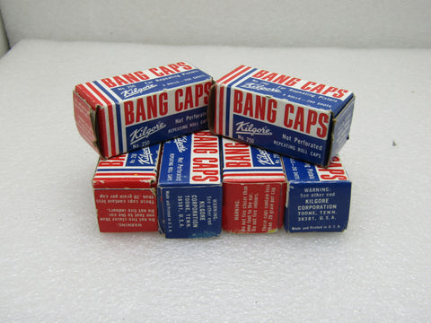 Vintage 6 Boxes Kilgore Bang Caps, No. 250, 5 rolls per box
