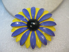 "1960's Enameled Daisy Brooch,  Purple, Yellow, Black ,3"", 1960's and Boho"