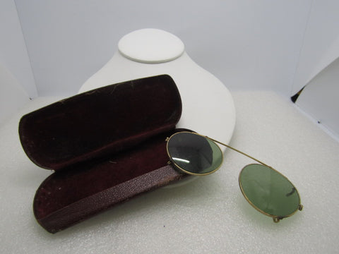 Vintage Wire Rim Sunglass Snap-On Lenses, Gold Tone in Case, Mid-Century