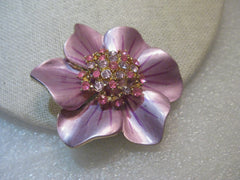 "Vintage Enameled Flower Brooch, Rhinestone Center, Pink & Lavender, 2"", 1960's"