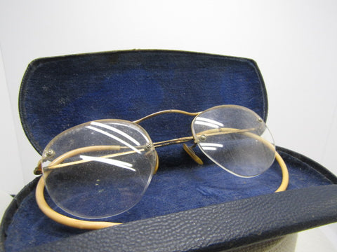 Vintage Wire Rim Eyeglasses, Open Bottom, 1/10 12kt GF. In Case. Pre 1950's