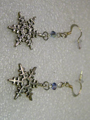 "Silver Tone  Snowflake Dangle Pierced Earrings, 2"" with crystal accent"