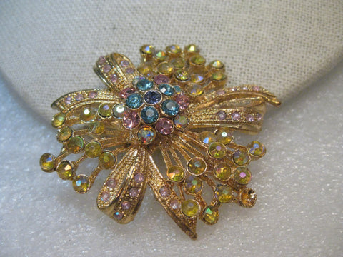 Vintage Aurora Borealis Bow Cluster Brooch/Pendant,  1960's, Gold Tone, 2""
