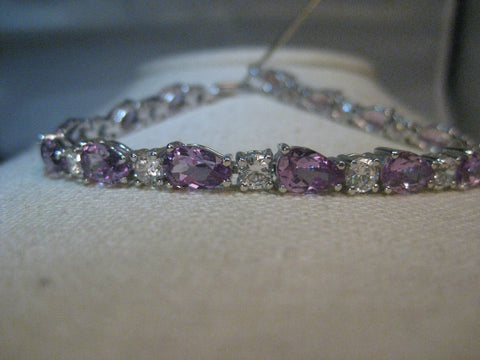 "Sterling Silver Lavender & Clear Stone Tennis Bracelet, 7.5"", 5.5mm wide, 13.49 gr."