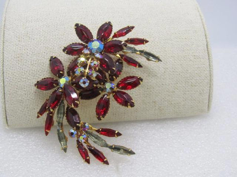 "Vintage Red Rhinestone Floral Swag Brooch,  Clear/Red Marquise, 1960's, 3.25"", Dazzler"